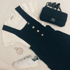Jumpsuit and t-shirt from zara, stan smith, purificacion garcia bag and chanel perfume
