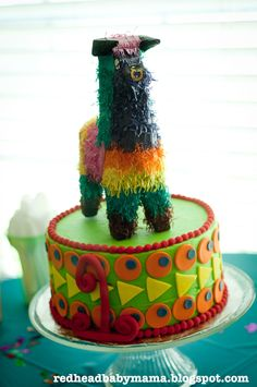 Redhead Baby Mama: Red's First Birthday Cake Cinco de Mayo style with mini bull pinata on top!