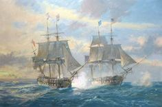 Announcing the latest commissioned painting by Geoff Hunt: USS Constitution in action with HMS Guerriere, 19th August 1812 - for an American client...