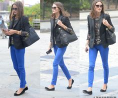 Look of the day - Cobalt Blue Pants Fashion 2017, Love Fashion, Womens Fashion, Future Fashion, Street Fashion, Fashion Ideas, Cobalt Blue Pants, Olivia Palermo Lookbook, Blue Skinny Jeans