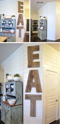 EAT Letters from Reclaimed Lumber | DIY Home Decorating on a Budget | DIY Projects for the Home Dollar Store