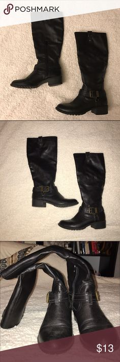 Black Knee-High Boots Faux leather. Bronze buckles. Used no more than 5 times. In great condition. Rampage Shoes Winter & Rain Boots