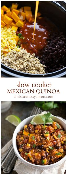 ONE dish, Crockpot Mexican Quinoa.{Sub sweet potatoes for squash}.A ONE dish, Crockpot Mexican Quinoa.{Sub sweet potatoes for squash}. Mexican Food Recipes, Whole Food Recipes, Vegetarian Recipes, Healthy Recipes, Red Quinoa Recipes, Vegan Butternut Squash Recipes, Butternut Squash Slow Cooker, Quinoa Dishes, Mexican Cooking