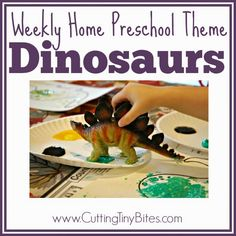 Weekly Home Preschool Theme- Dinosaurs.  Ideas for one week of home preschool. Crafts, activities, snack, fine motor, picture books and more!