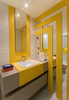 55 small yellow bathroom decorating ideas 26 - Home Design Ideas White Bathroom Interior, Yellow Bathroom Decor, Yellow Interior, Yellow Bathrooms, Diy Bathroom Decor, Bathroom Wall, Modern Bathroom, Small Bathroom, Diy Vanity