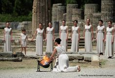 The Torch was lit today in the Temple of Hera in Ancient Olympia #outdoorsgr