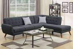 Poundex 2-Pcs Sectional Sofa F6954 Description : An uptown state of mind, this 2-piece sectional is for the hipster with a unique sense of style. Tightly upholstered with accent tufting on the back su