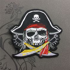 Pirate Skull patch Embroidered Iron On Patches sew on patches Punk patch