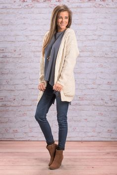 """""""To Love Somebody Cardigan, Natural"""" Just like all the other colors you have enjoyed this cardigan in you will love it in this soft neutral! You have just entered cardi heaven!  #Newarrivals #shopthemint"""