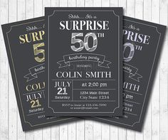 Surprise Birthday Invitation for Men Surprise by funkymushrooms