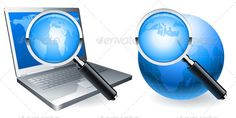 Search Icons by timurock Magnifying glass focused on laptop screen and on world globe surface. This file is fully editable EPS8 vector illustration. It can