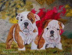 """Купить """"Малыши""""-художник Хату Чехоев - бежевый, щенки, английский бульдог, картина в подарок"""