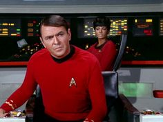 James Doohan as Montgomery 'Scotty' Scott on the bridge with Nichelle Nichols as Uhura in the STAR TREK episode 'A Piece of the Action' Original air...