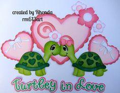 Turtley Love Valentine paper piecing set premade scrapbook pages Rhonda rm613art