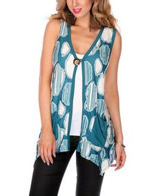Look at this #zulilyfind! Teal Abstract Vest by Lily #zulilyfinds