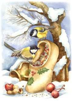 Anna's Art – 42 фотографии | ВКонтакте Christmas Bird, Christmas Drawing, Christmas Clipart, Christmas Printables, Vintage Christmas Images, Christmas Pictures, Bird Pictures, Pictures To Paint, Images Noêl Vintages