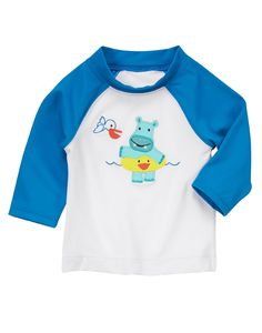 Hippo Rash Guard at Gymboree ~ Adorable!  Looks like one of the hippos at the Hippo Splash Pad at The Promenade Bolingbrook.