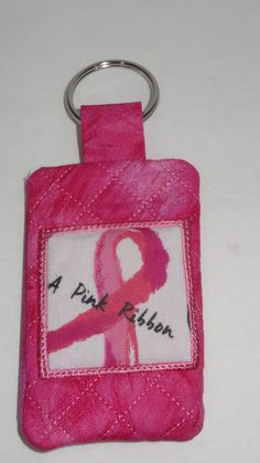 Breast Cancer Ribbon Quilted Keychain with Pocket by BrunosBling on Etsy