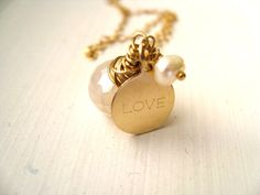 Love necklace pearl White gemstone Bridal necklace gift for her Under 60 Wedding Anniversary