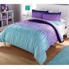 Teal and purple comforter sets for latitude ombre ruched reversible complete bedding set inspirations Cheap Bedding Sets, Bedding Sets Online, Luxury Bedding Sets, Affordable Bedding, Modern Bedding, Purple Bedspread, Purple Comforter, Aqua Bedding, Chevron Bedding