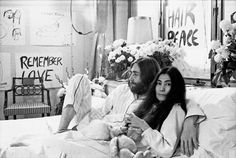 REMEMBER LOVE! John Lennon and Yoko Ono during their 'bed-in' peace demonstration in Amsterdam in 1969.
