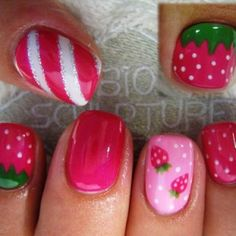 I like the light pink nails w/ the mini strawberries. Strawberry fun by Diamond_Nails from Nail Art Gallery ( Nail Art Designs, Easter Nail Designs, Easter Nail Art, Nails Design, Fancy Nails, Love Nails, Pretty Nails, My Nails, Nail Art Inspiration