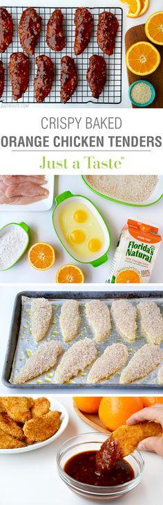 Baked Orange Chicken Tenders   recipe via justataste.com
