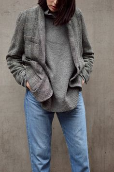 Matching tones in the jumper and jacket make this the perfect minimal look!