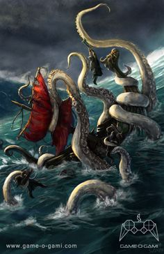 """The Kraken"" card art for Immortal - a game of mythic strategy. Illustration by Grant Griffard. Image copyright by Game-O-Gami.  http://www.game-o-gami.com/downloads/gallery/immortal/"