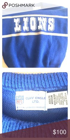 Vintage Lions Sweater Curated Cliff Engle Detroit Lions pullover. Unisex M. Great vintage condition - looks almost new. cliff engle Sweaters Crewneck