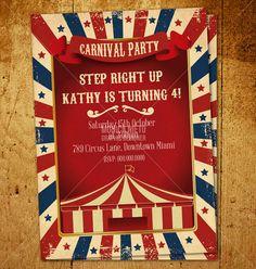 Custom Printable Vintage Carnival Circus Birthday Invitation