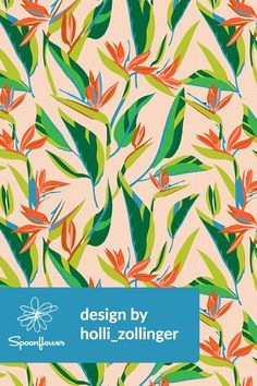 Birds of Paradise Illustration by holli_zollinger - Beautiful tropical themed birds of paradise illustration on fabric, wallpaper, and gift wrap.  Indie designer Holli Zollinger created this playful tropical illustration in orange, blue, peach, green, and lime.  The perfect tropical themed pattern for wallpapering a bedroom or making DIY throw pillows for a tropical style living room.  Click to see more illustrations by this indie designer.  #illustration #design #tropical #botanical #fabric