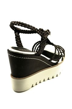 Palomitas Black Woven Leather PALOMA BARCELO' Wedge