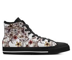 dc19a6fd74e Vintage Boho Floral Pattern Womens Shoes Printed High Top Sneakers