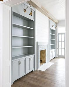Shiplap Fireplace Wall - Design photos, ideas and inspiration. Amazing gallery of interior design and decorating ideas of Shiplap Fireplace Wall in bedrooms, living rooms, decks/patios by elite interior designers. Fireplace Doors, Fireplace Built Ins, Shiplap Fireplace, Home Fireplace, Bookshelves Built In, Fireplace Design, Living Room No Fireplace, Built In Electric Fireplace, Fireplace Outdoor