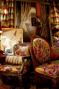 Hand Painted Chairs-interesting idea to paint chairs like a painting canvas