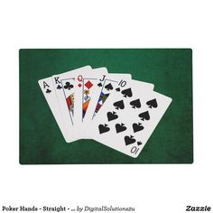 Poker Hands - Straight - Ace To Ten Placemat