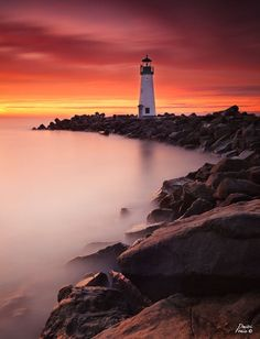 This is Walton lighthouse in Santa Cruz, California. This particular morning the sky lit up in fire and I used a 10 stop ND filter with GND filters to capture the amazing colors.  Photo by Dmitri Fomin