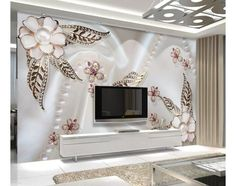 living room design for giving happiness doesn't have to know Living Room Wall Wallpaper, Wallpaper Decor, Home Wallpaper, Flower Wallpaper, Tv Wall Design, Ceiling Design, Living Room Designs, Living Room Decor, Bedroom Decor