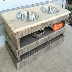 Raised pallet dog bowl feeding stand storage unit