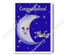 Cat Jumping Over the Moon Printable Card by CowberryMoonCards