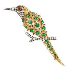 Gold, Silver, Emerald, Diamond and Ruby Toucan Brooch