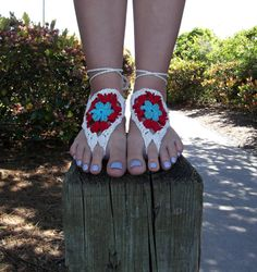 Crochet Barefoot Sandals in Red White and Aqua by emmyknitkins