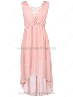 Pink V-neck Sleeveless Wrap Chiffon Asymmetric Dress
