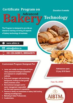 Certificate Program on Advanced Bakery Technology for Entry, Junior and Middle Level Managers, Entrepreneurs, Marketing & Sales Professionals and Academicians! Write now at aibtm for more details! Intensive Training, Certificate Programs, Sales And Marketing, Program Design, Confectionery, Bakery, Middle, Management, Technology