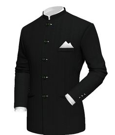 Black striped wool jacket with white pocket square and mao collar. Wedding Dresses Men Indian, Wedding Dress Men, Wedding Suits, Nehru Jacket For Men, Nehru Jackets, Mens Fashion Suits, Mens Suits, Types Of Suits, Indian Groom Wear