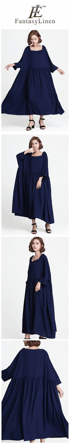 Blue Plus Size Loose Long Casual Cotton Dress Women Clothes