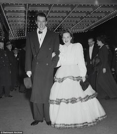 'It would be awkward': The actress said she passed on the role of George Bailey's wife in It's a Wonderful Life because she felt uncomfortable working with her former lover, Jimmy Stewart (pictured at the New York premiere of Gone With the Wind in 1939)