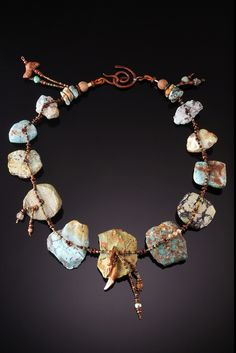 Necklace | Chris Carlson. 'Archaeology'. Turquoise shards with fruit bat teeth.