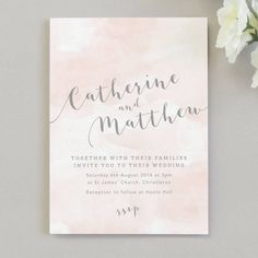 Invite your friends and family to your wedding day with our Romance wedding invitation featuring a pretty pink watercolour background and grey calligraphy fonts.Available as a day or evening invitations and with or without a space to write your guests names. If you would like to order both day and evening invites please place a separate order for each version. The information/particulars card can be printed on the reverse of your wedding invitation or supplied as a separate card. If you…